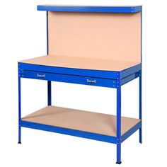 Goplus® Steel Workbench Tool Storage Work Bench Workshop Tools Table W/ Drawers and Peg Board,Blue -- Awesome products selected by Anna Churchill