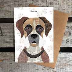 These unique greetings cards feature the quirky, characterful dog illustrations by artist Simon Hart created using collage with Harris Tweed