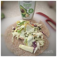 Quick and Easy Lunch:  Ezekiel wrap avocado  Coleslaw mix, minus the dressing Turkey- nitrate free Cheese Bolthouse Farms-Cilantro and avocado yogurt dressing  I folded it in half and used my George Foreman  grill to toast it . Click on the image and it will take you over to more recipes and healthy tips.
