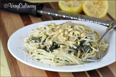 creamy goat cheese pasta with lemon and spinach.