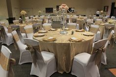 chair covers and tablecloth rentals yellow upholstered rocking 33 best events we ve done images rental linen champagne crushed taffeta tablecloths sashes white spandex gold charger plates