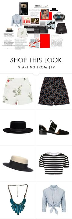 """""""Hats Off to Summer """"Jessica"""""""" by arejay ❤ liked on Polyvore featuring Topshop, River Island, Janessa Leone, Emporio Armani, Eshvi, Arden B. and Aquazzura"""