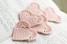 Set of 10 Crochet hearts applique Wedding decoration embellishment pale pink  via Etsy.