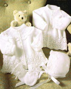 Vintage baby matinee coat dress and bonnet set vintage knitting pattern PDF instant download