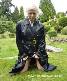 This hot babe is ready to go in her revealing Rubber Rainwear! Find more on our website!