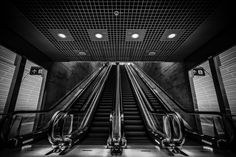 Lower Escalators At Triangeln Station http://mabrycampbell.com #image #photo #photography #malmo #sweden #escalators #mabrycampbell #triangeln #stationtriangeln #trainstation #underground #blackadnwhite #architecture