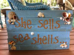 Made this sign for my screened in porch. Used an old pallet, old spray paint, cricut letters and shells from our vacation. Total cost=FREE!!