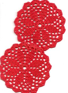 Christmas doily, 5 Coasters set, lace doilies, table decoration, crocheted doilie, center piece, hand made, red cotton doilies
