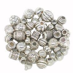 40 Acryl European Beads leicht silber Zwischenperlen Metall Kunststoff | Fädelloch ab 4mm | Zwischenperlen |  günstig kaufen bei Bacabella.com | Perlen, Schmuck und Schmuckzubehör zum Schmuck selber machen | Schmuck basteln DIY DoItYourself | ganz individuell und einfach | Schmuckperlen