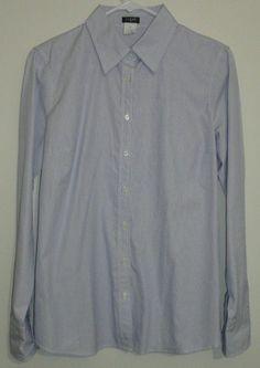 $24.95 obo j. crew blue & white pinstripe long sleeve button down shirt size: medium #freeshipping