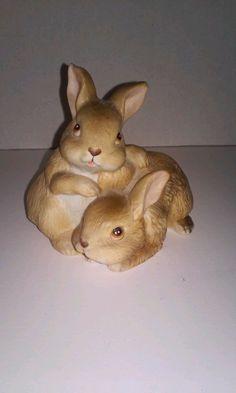 Homco Sweet Brown Bunny Rabbits Figurine 1455