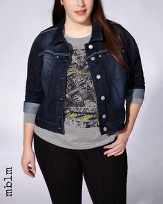 Rock your casual look with this plus-size denim jacket! Timelessly trendy, it features long sleeves, 2 front pockets and a button-up front. Layers perfectly over any outfit for instant edgy style!