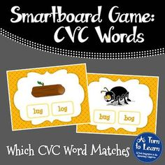 CVC Words: Which CVC Word Matches Game for Smartboard/Promethean Board!