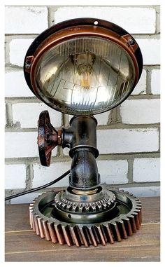 Desk Lamps For Beautiful Task Lighting – Beautiful Lamps Tiffany Table Lamps, Bedside Table Lamps, Desk Lamp, Cool Lamps, Unique Lamps, Lampe Metal, Industrial Style Lighting, Industrial Desk, Fluorescent Lamp