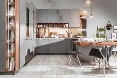 Kuchnie nowoczesne   WFM KUCHNIE - meble kuchenne Breakfast Nook, White Cabinets, Kitchen Storage, New Homes, Interior Design, Wood, Table, House, Furniture