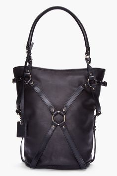 MCQ ALEXANDER MCQUEEN //  BLACK TUMBLED LEATHER BRIDLE HOBO BAG