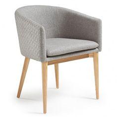 Harmon dining chair La Forma quilt light gray