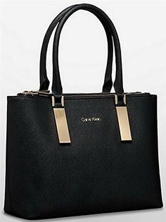 Calvin Klein Scarlett Double Zip Carry All Bag Handbag Purse Black
