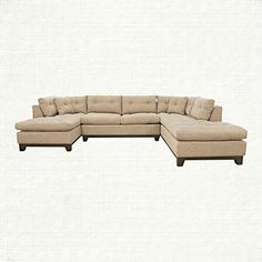 "Garner 136"" Three Piece Upholstered Sectional In Trina Linen"