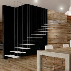 escalier droit métal suspendu sur filins inox #escaliermetal #escaliersurmesure # escalierparis #paris Tiny Steps, Escalier Design, Stairs Architecture, Modern Stairs, Stairways, Minimalism, Indoor, Living Room, Interior Design