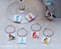 """Princess Wine Charms - """"Princess Party"""" (Set of 7) : Party decor, Fun Wine Charms, Girly gifts on Etsy, $22.00"""
