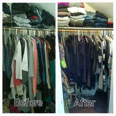 Sort by type first (skirts, jackets, tops) and then by color. Keep frequently-used items within easy reach. www.piecesintoplace.com