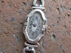 Antique Diane 15J 14K White Gold Diamond Sapphire Wrist Watch Liberty WCco Swiss #Diane #DressFormal
