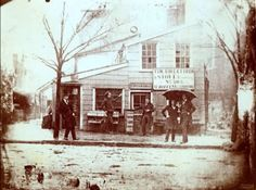 """""""Northeast corner of and Arch Streets."""" Daguerreotype view of a group of men posing in front of a shop, Philadelphia, History Photos, Us History, American History, Photos Du, Old Photos, Vintage Photos, Old Photography, History Of Photography, Arch Street"""