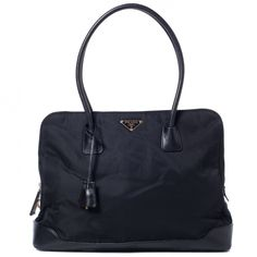 This is an authentic PRADA Tessuto Nylon and Leather Large Tote Nero in Black.   This is an elegant tote that is beautifully crafted of fine durable tessuto nylon.    This is a good option.