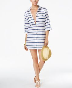 0b363418b7ee6 Dotti Tulum Striped Cover-Up Shirt Swim Dress