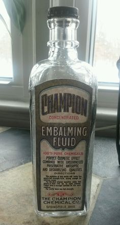RARE Antique Champion EMBALMING FLUID Bottle w LABEL Funeral Mortuary Apothecary