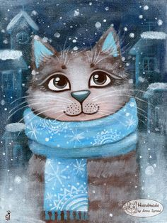 Photo Christmas Drawing, Christmas Paintings, Christmas Cats, Winter Cat, Cat Drawing, Cute Illustration, Beautiful Cats, Beautiful Pictures, Crazy Cats