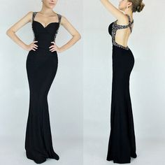 Only $49.99 In Stock Sexy Summer 2014 Black Royal Blue Red Abendkleider Beaded Backless Long Prom Dress Cheap prom Dresses