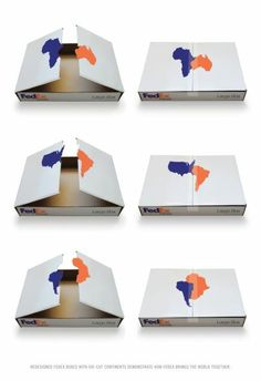 Redesigned Fedex Boxes with die-cut continents demonstrating how Fedex brings the world together.  Advertising School: School Of Visual Arts, New York, USA  Creative Director: Frank Anselmo  Art Directors: Eleni Georgeou, Scott Steidl