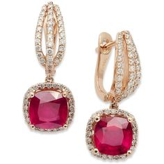 14k Rose Gold Earrings, Ruby (4 ct. t.w.) and Diamond (3/4 ct. t.w.)... ($2,591) via Polyvore