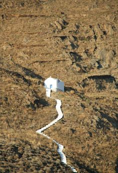 A white chapel in Aegiali on Amorgos island, Dodecanese.......A HARD, LONG TRECK TO CHURCH ON SUNDAYS WOULDN'T YOU SAY???........ccp