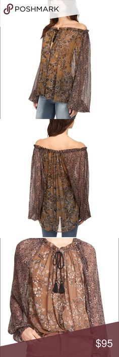Free People Hedrix Versatile Off Shoulder Blouse Brand new with tags, flawless. Chic florals are featured on a lightweight chiffon fabrication. Drawstring tie at the collar allows for versatile wear. Long raglan sleeves with gathered cuffs. Hidden button placket. High-low shirttail hemline. 100% nylon. Color is Black Multi Free People Tops Blouses