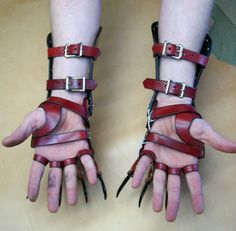 Red Leather Clawed Gloves Gauntlets Inspiration