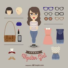 Elementos de moda de chica hipster Vector Gratis