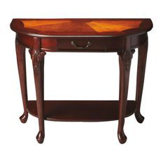Bring regal style to your home with the Kimball Console Table by Butler Specialty Company. Features solid wood construction with beautiful veneers and burnished sunburst pattern, a bowed front with Queen Anne legs, a drawer and a lower shelf. Living Room Setup, Dining Room, Sofa Tables, Console Tables, Accent Furniture, Furniture Design, Furniture Decor, Display Shelves, Furniture Collection