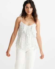 5bcc25ee318769 Chiffon Asymmetrical Cami Crochet Tank Tops, Abercrombie Fitch, Camisole  Top, Winter Outfits,