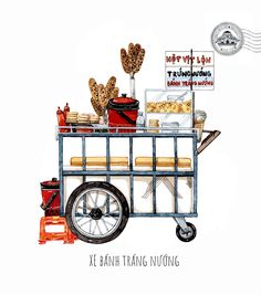 [Illustrations] The Beauty of Saigon Street Carts Through the Eye of Its Beholder - Saigoneer Vietnamese Street Food, Vietnamese Recipes, Food Trolley, Street Vendor, Food Drawing, Food Illustrations, Watercolor Illustration, Watercolour, Food Art