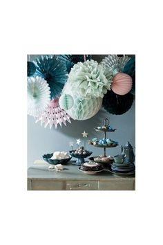 2 x Pompons Papier de Soie 16 coloris 4 tailles - Boule Lanterne Lampions Papier - Déco Extérieur Mariage Cérémonie-Anniversaire