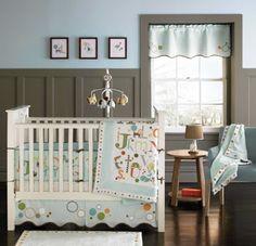 Dormitorio de bebé en azul y gris