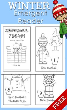 Free Winter Emergent Reader: Students add snowballs to each page in this emergent reader focusing on number words one through ten. Great for kindergarten and first grade!