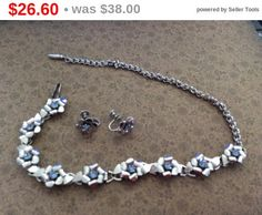 Coro Set of Vintage silver tone flowers with blue by EMTWTT