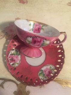 vintage Lefton teacup saucer set by VintageSowles on Etsy