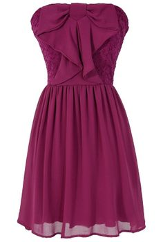 Waterfall Bow Front Chiffon and Lace Dress in Raspberry