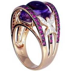 18k Yellow Gold Amethyst Cabachon Ring with ruby & diamond: