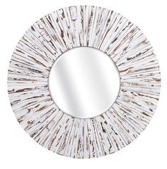 Our portico large round white wood decorative mirror features distressed rustic…
